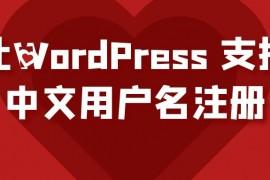 如何让WordPress 支持中文用户名注册?